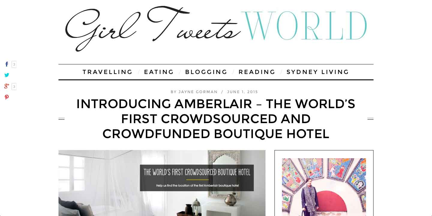 Amberlair Crowdsourced Crowdfunded Boutique Hotel Girl Tweets World - Jayne Gorman