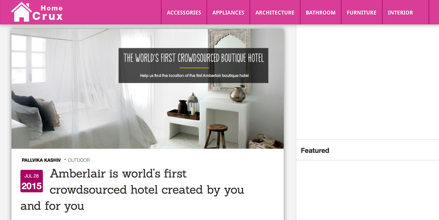 Amberlair Crowdsourced Crowdfunded Boutique Hotel Homecrux