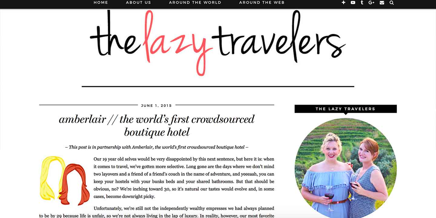 Amberlair Crowdsourced Crowdfunded Boutique Hotel -Ashley and Carolyn from The Lazy Travelers
