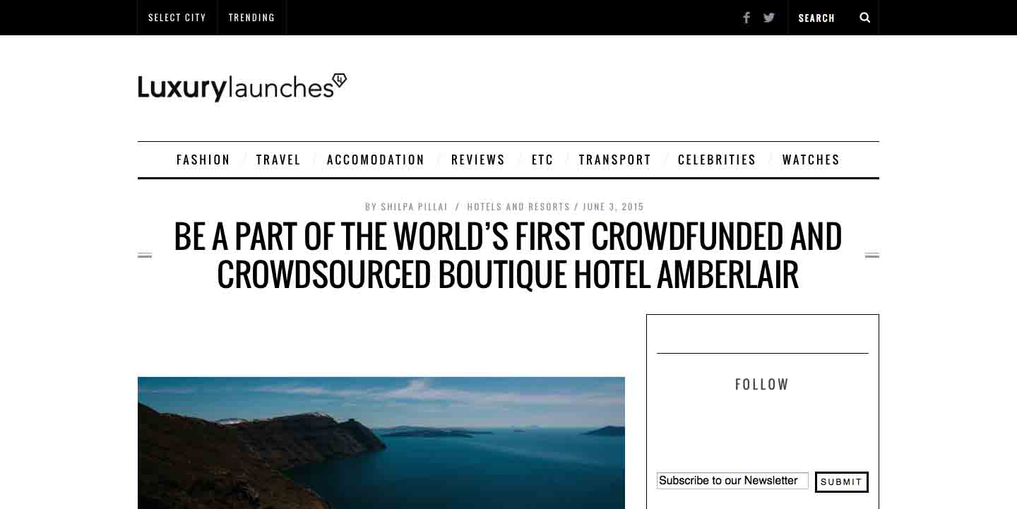 Amberlair Crowdsourced Crowdfunded Boutique Hotel Luxury Launches