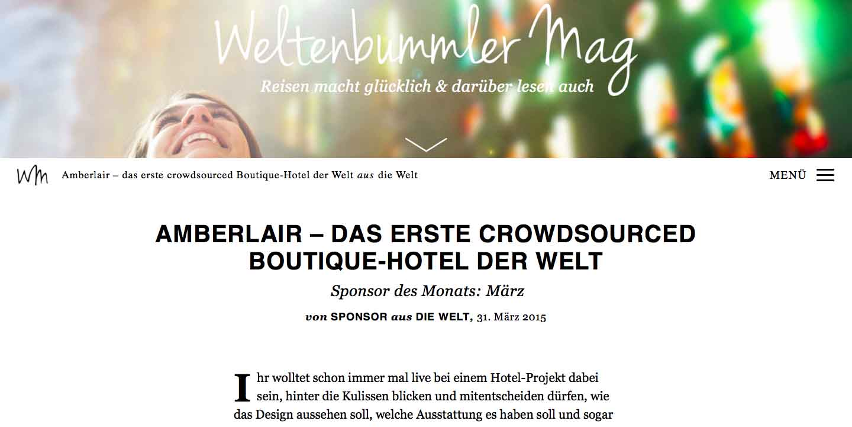 Amberlair Crowdsourced Crowdfunded Boutique Hotel -Weltenbummler Mag Marianna