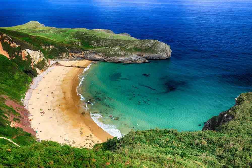 beautiful landscape beach ocean in Asturias, Spain