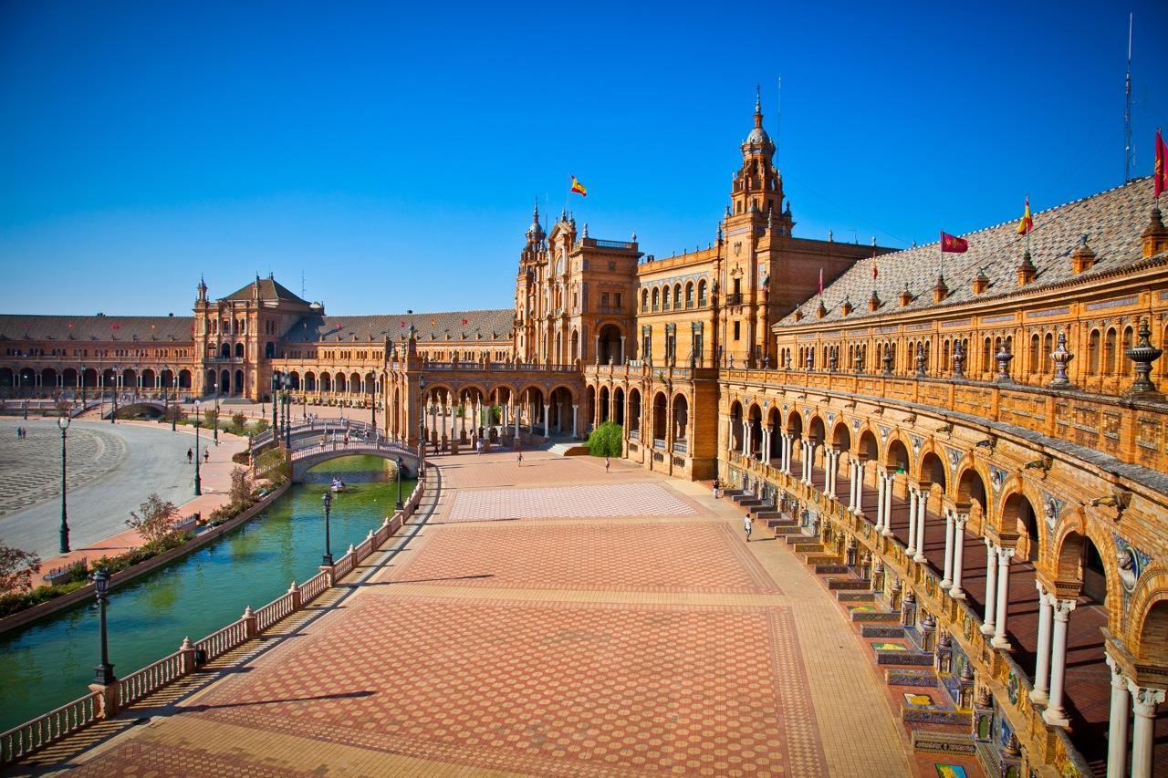 Plaza de Espana, Seville, Seville Province, Andalucia, Spain.